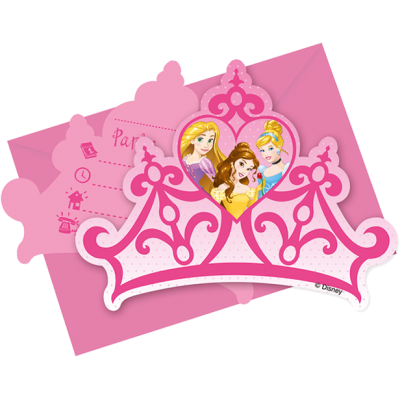 Disney Princess Party Invitations & Envelopes  - Pack of 6