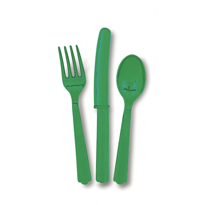 EMARALD GREEN  PLASTIC CUTLERY ASSORTED