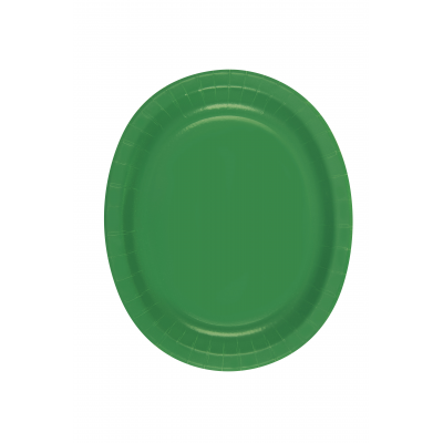 "EMERALD GREEN  OVAL shape paper PLATES 12"" - PACK OF 8"