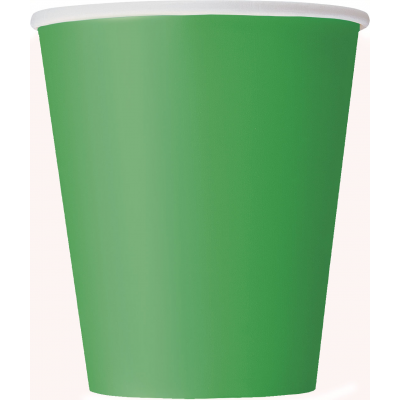 EMERALD GREEN Paper CUPS 9OZ.- Pack of 14