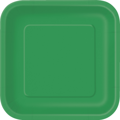 "EMERALD GREEN SQUARE paper PLATES 9"" - Pack of 14"