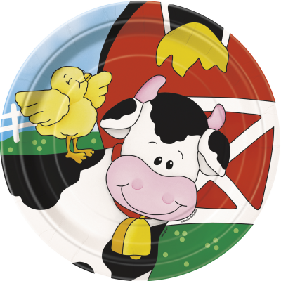 "Farm Friends 7"" SQUARE PLATES - Pack of 8"