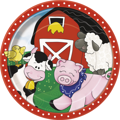 "Farm Friends 9"" SQUARE PLATES - Pack of 8"