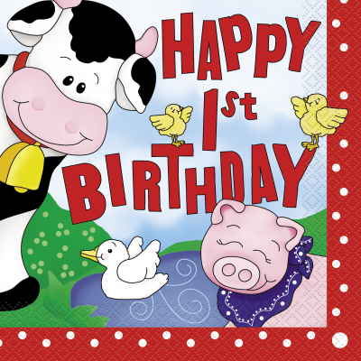 "Farm Friends LUNCHEON NAPKINS ""1ST BIRTHDAY""- Pack of 16"