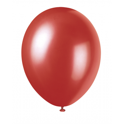 "FLAME RED Pearlised balloons 12"" - Pack of 8"