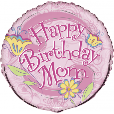 "FLORAL BIRTHDAY MOM 18"" FOIL BALLOON"
