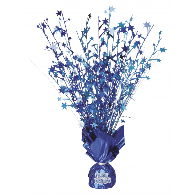 "FOIL BALLOON WEIGHT CENTREPIECE BLUE ""HAPPY BIRTHDAY"""