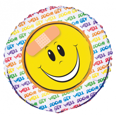"GET WELL HAPPY FACE 18"" FOIL BALLOON"