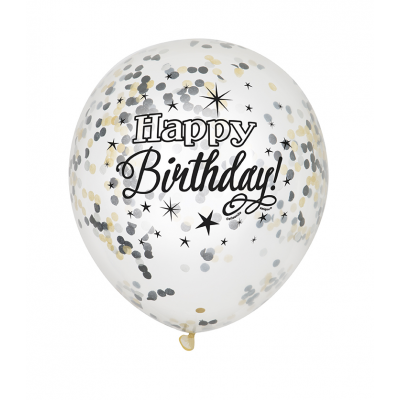 "Glittering Birthday FOIL CLEAR BALLOONS with confetti 12"" - pack of 6"