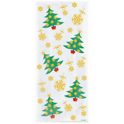 Golden Christmas Trees Cellophane Party Bags - Pack of 20