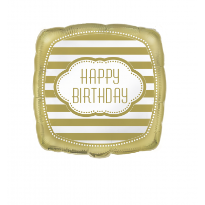 "Golden Happy Birthday SQUARE  FOIL BALLOON 18"" - pack of 1"