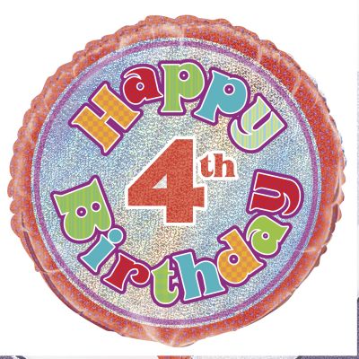 "HAPPY 4TH BIRTHDAY 18"" Prismatic FOIL BALLOON"