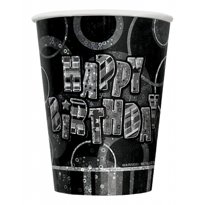 Happy Birthday 9 oz Prism Cups - Pack of 8
