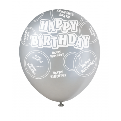 "Happy Birthday Black & Silver 12"" Pearlised Balloons"
