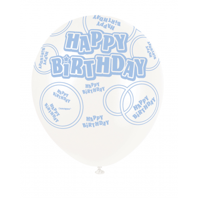 "Happy Birthday Blue & White 12"" Pearlised Balloons"