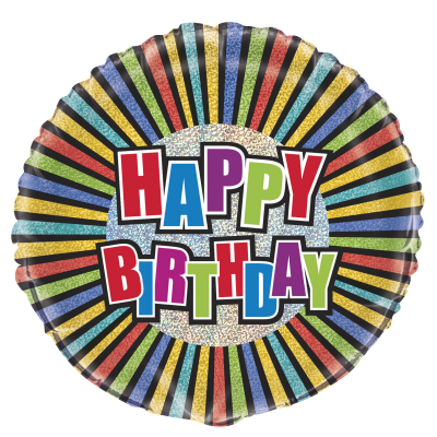 "Happy BIRTHDAY COLOURS 18"" Prismatic FOIL BALLOON"