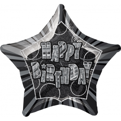 "Happy birthday Glitz Black 20"" Star Shaped Balloon"