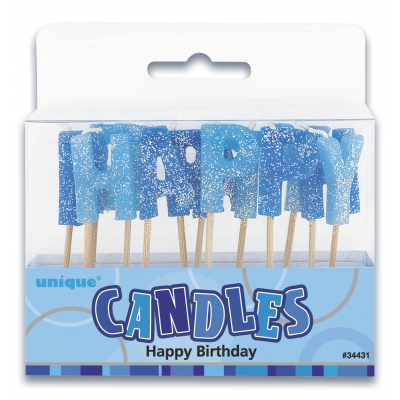 Happy Birthday Glitz Blue GLITTER  PICK CANDLES - Pack of 13