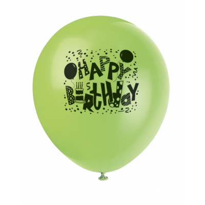 "Happy  Birthday Jamboree  BALLOONS PRINTED 1 SIDE 12"" - pack of 8"
