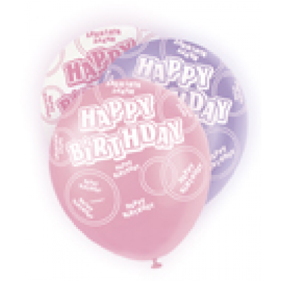 "Happy Birthday Pink & Lilac 12"" Pearlised Balloons"