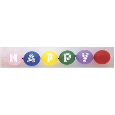 HAPPY BIRTHDAY PRINTED LINKING BALLOONS ASSORTED COLOURS - Pack of 14