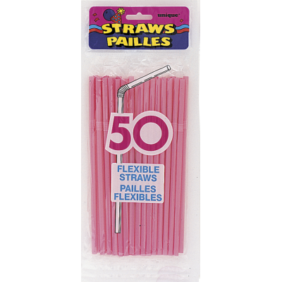HOT  PINK  FLEX  PARTY  STRAWS - PACK OF 50