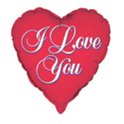 "I LOVE YOU SCRIPT RED 18"" HEART FOIL BALLOON"
