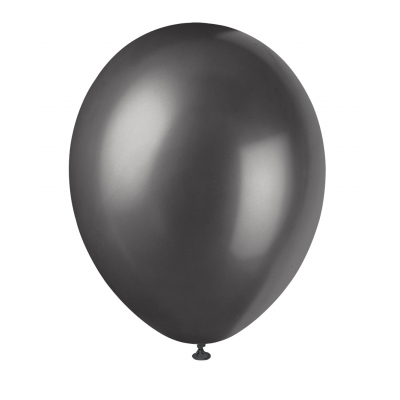 "INK BLACK   Pearlised Balloons 12"" inch - Pack Of  8"