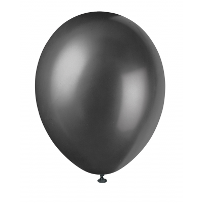 "INK BLACK Solid colour Pearlised Premium Balloons 12"" - Pack of 50"