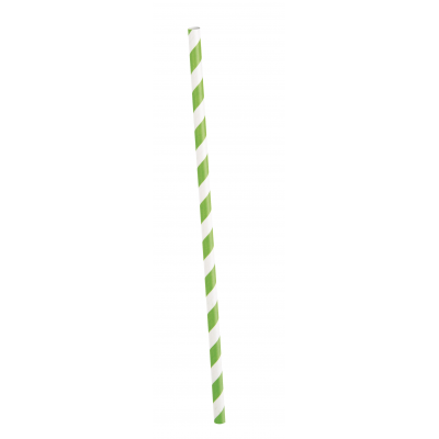 LIME  GREEN PAPER  PARTY  STRAWS   STRIPES - PACK OF 10