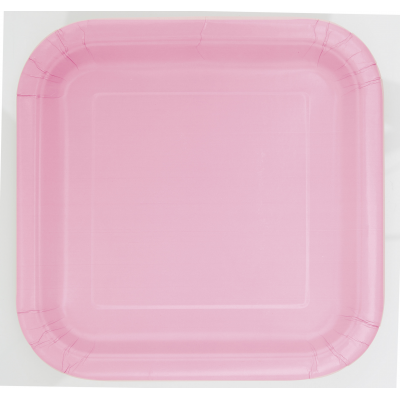 "LOVELY PINK  9"" SQUARE Paper PLATES - Pack of 14"