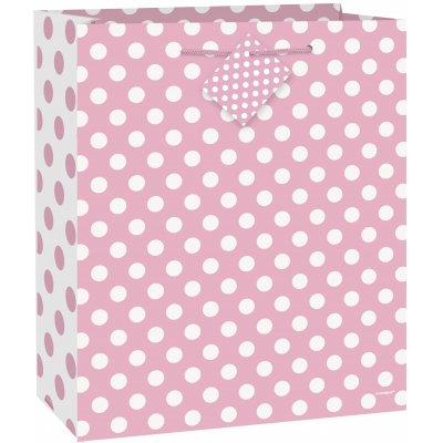 "LOVELY PINK DOTS LARGE GLOSSY GIFT BAG 121?2""H x 101?2""W"