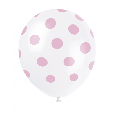 "LOVELY PINK POLKA DOTS 12"" Balloons Printed All Around - Pack of 6"