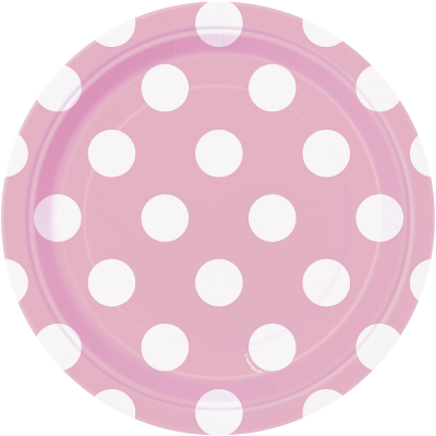"LOVELY PINK POLKA DOTS   7"" Paper Plates  - Pack of 8"