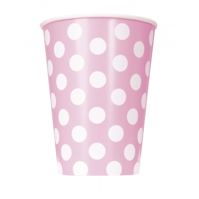 LOVELY PINK POLKA DOTS    cups   - Pack of  6