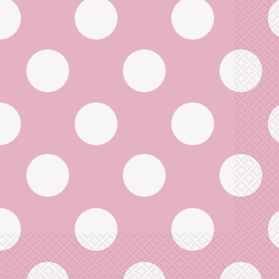 LOVELY PINK POLKA DOTS Luncheon Napkins  - Pack of 16