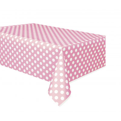 LOVELY PINK POLKA DOTS Plastic table cover