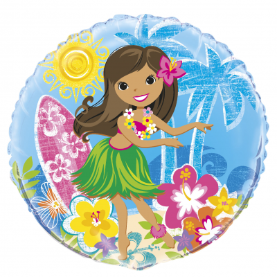 "Luau Party HULA BEACH PARTY 18"" FOIL BALLOON PRINTED TWO SIDES"