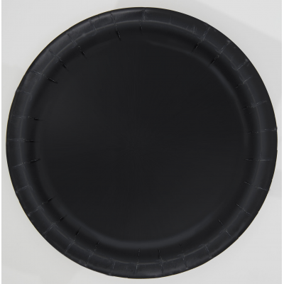 "MIDNIGHT BLACK 7"" ROUND Paper PLATES - Pack of 8"