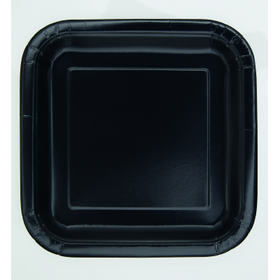 "MIDNIGHT BLACK 7"" SQUARE Paper PLATES - Pack of 16"