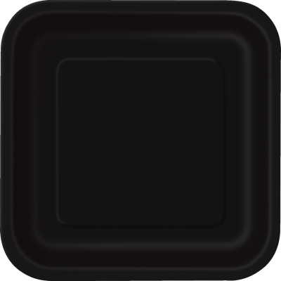 "MIDNIGHT BLACK  9"" SQUARE paper PLATES - Pack of 14"