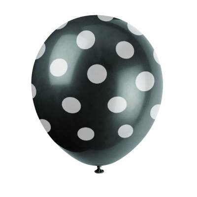 "MIDNIGHT BLACK DOTS 12"" BALLOONS PRINTED ALL OVER"