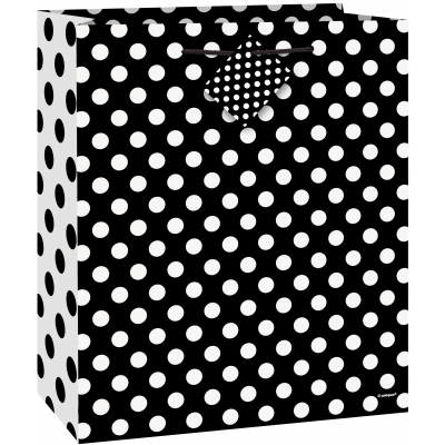 "MIDNIGHT BLACK DOTS MEDIUM GLOSSY GIFT BAG 9""H x 7""W"