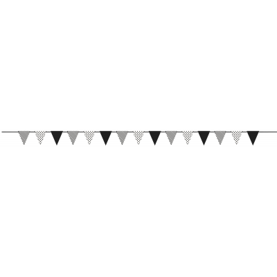 MIDNIGHT  BLACK DOTS & STRIPES PAPER FLAG BANNER