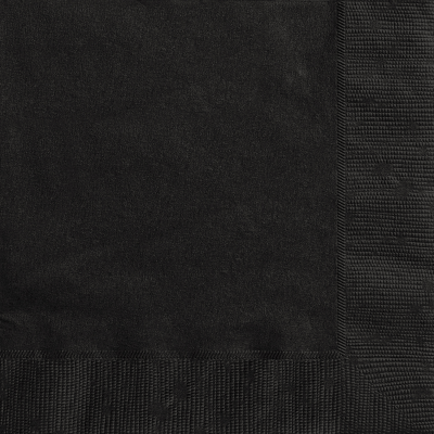 MIDNIGHT BLACK LUNCHEON NAPKINS - Pack of 20