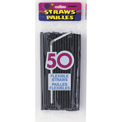 MIDNIGHT  BLACK  PARTY  STRAWS - PACK OF 50