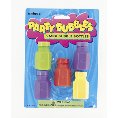 MINI BUBBLE BOTTLES ASSORTED COLOURS - PACK OF 5