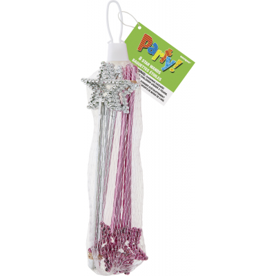 MINI STAR WANDS ASSORTED PINK AND SILVER - PACK OF 8