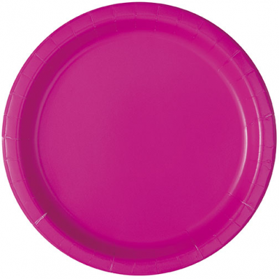 "NEON PINK plastic Plates 7"" - pack of 20"