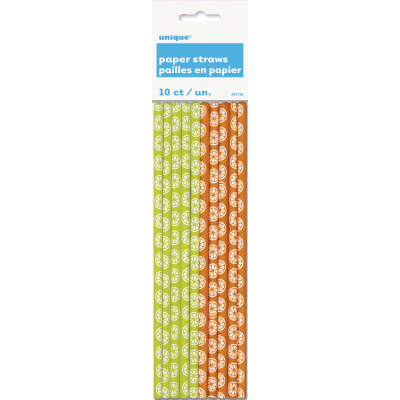 PAPER  PARTY  STRAWS  SUMMER CITRUS  - PACK OF 10